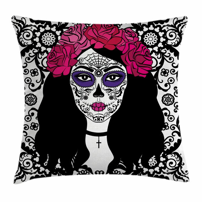 East Urban Home Sugar Skull Girl With Make Up Square Pillow Cover