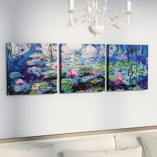 3 canvas art blue nympheas by claude monet piece painting print on wrapped canvas set wall art youll love wayfair