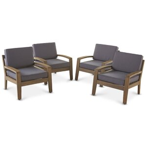 gaia wood frame armchair with cushions set of 4 - Wood Frame Armchair