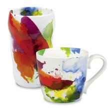 """""""On Color!"""" Double Walled Grip Mug (Set of 2)"""