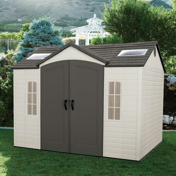 lifetime side entry 9 ft 8 in w x 7 ft 8 in d plastic storage shed reviews wayfair