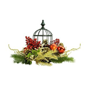 Berry and Pine Cone in Birdcage Christmas Glass Hurricane