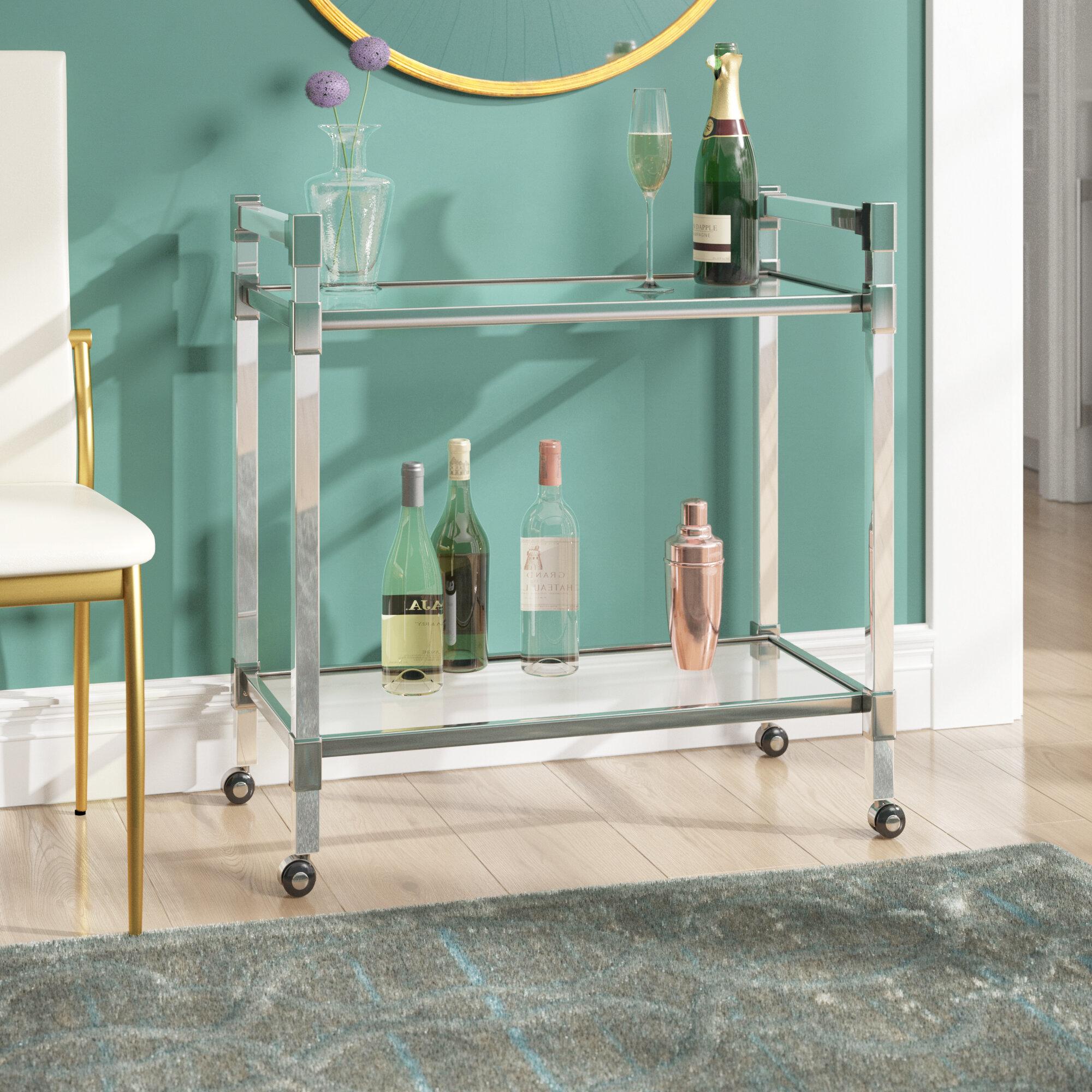 Mercer41 Kolar Modern Glass Bar Cart   Wayfair
