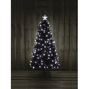 49ft black artificial christmas tree with 170 white lights with stand