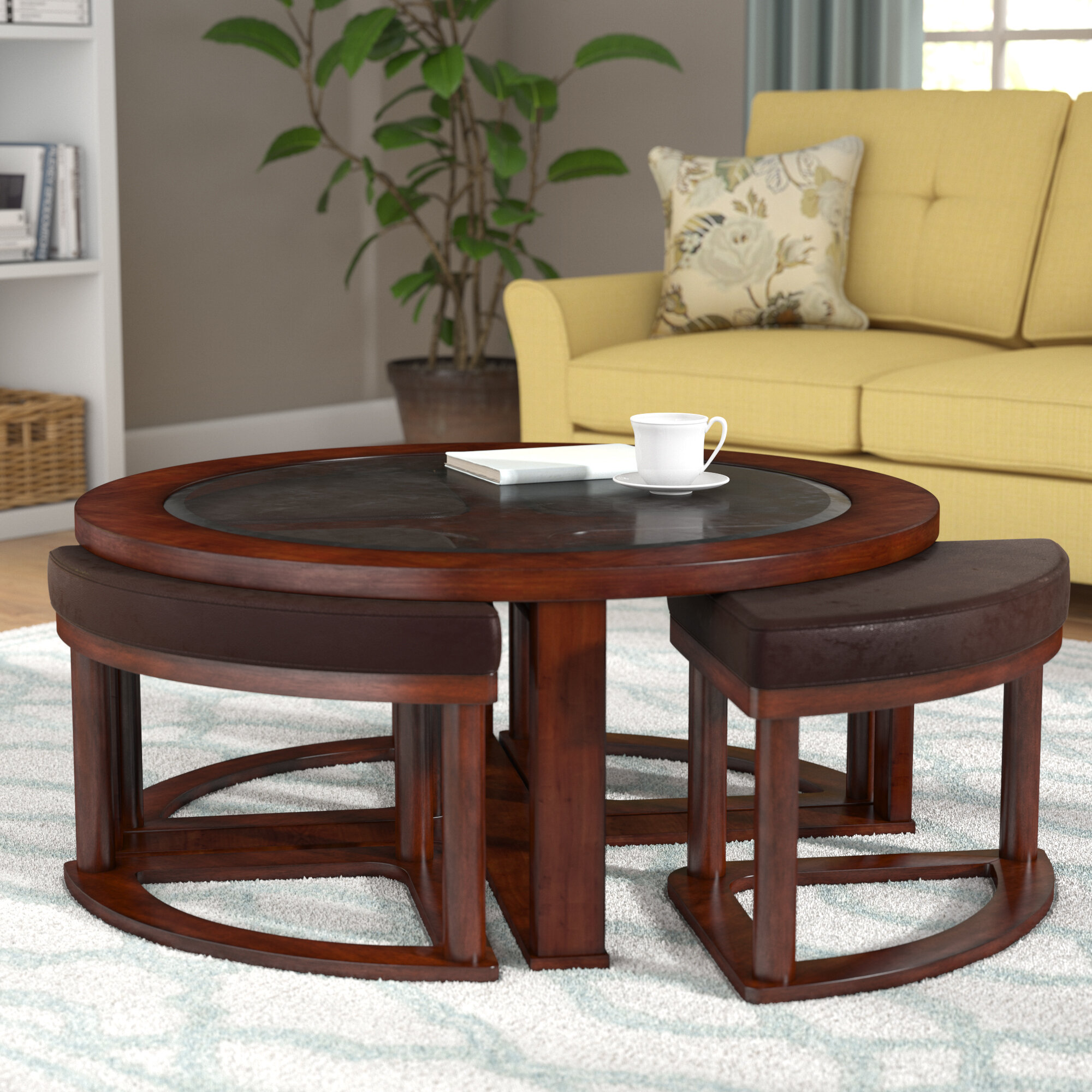 coffee table with stools Darby Home Co Eastin Coffee Table with Nested Stools & Reviews  coffee table with stools
