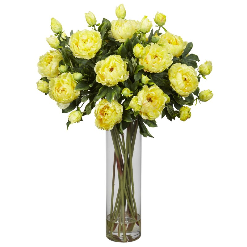 Nearly natural giant peony silk flower arrangement in yellow wayfair giant peony silk flower arrangement in yellow mightylinksfo