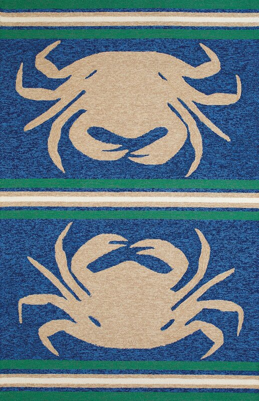 Crab Shack Hand Woven Taupe Blue Indoor Outdoor Area Rug
