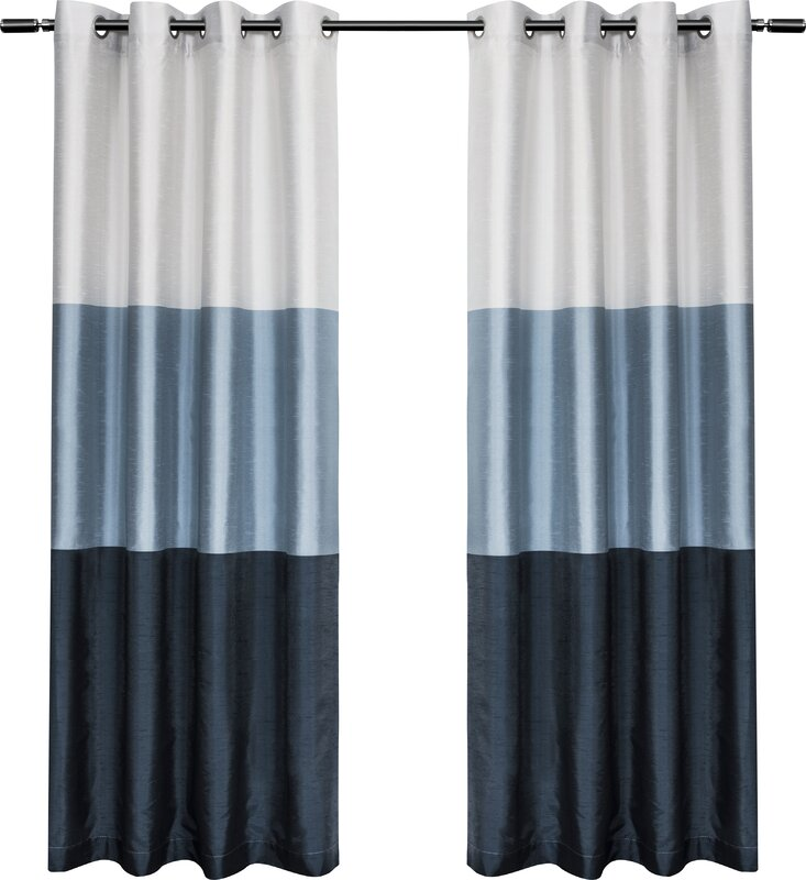 Newton Striped Room Darkening Grommet Curtain Panels