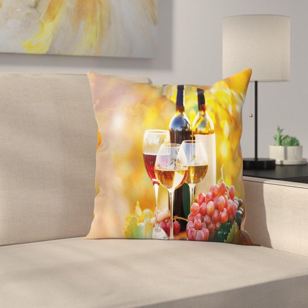 East Urban Home Wine Barrel Grape Country Square Pillow Cover   Wayfair