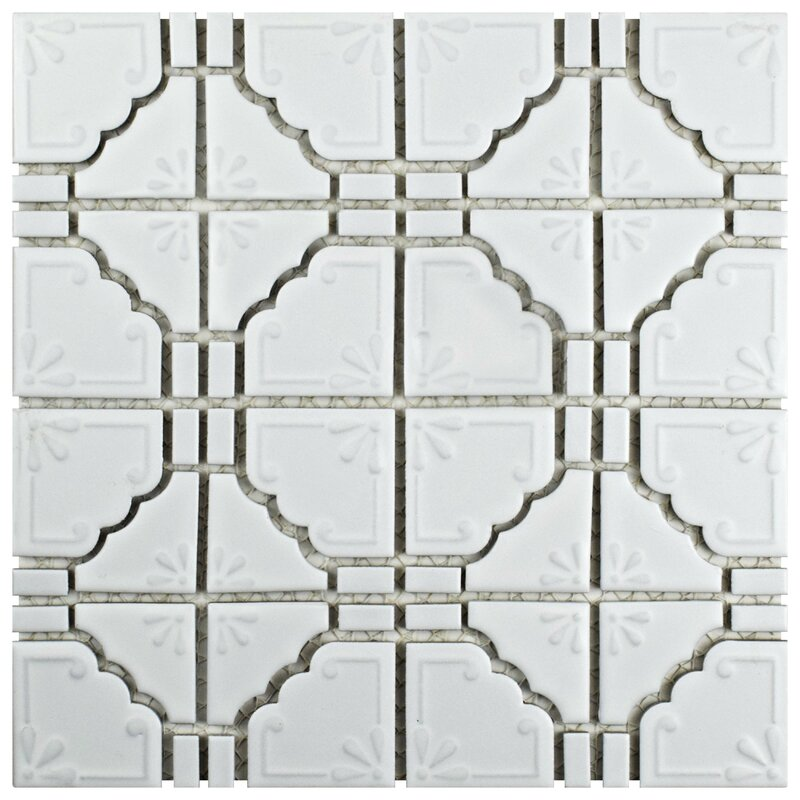 Moonlight 12  x 12  Porcelain Mosaic Tile in Matte White. EliteTile Moonlight 12  x 12  Porcelain Mosaic Tile in Matte White