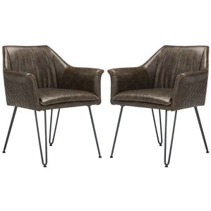 Greenwood Genuine Leather Upholstered Dining Chair (Set of 2) by Trent Austin Design