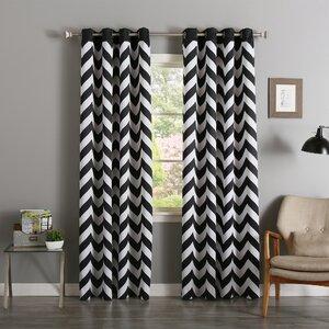 Alondra Chevron Semi-Sheer Curtain Panels (Set of 2)