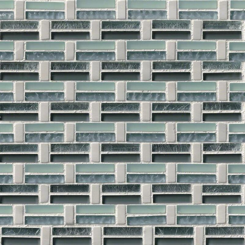 Ocean Wave Pattern Gl Stone Mosaic Tile In White Green