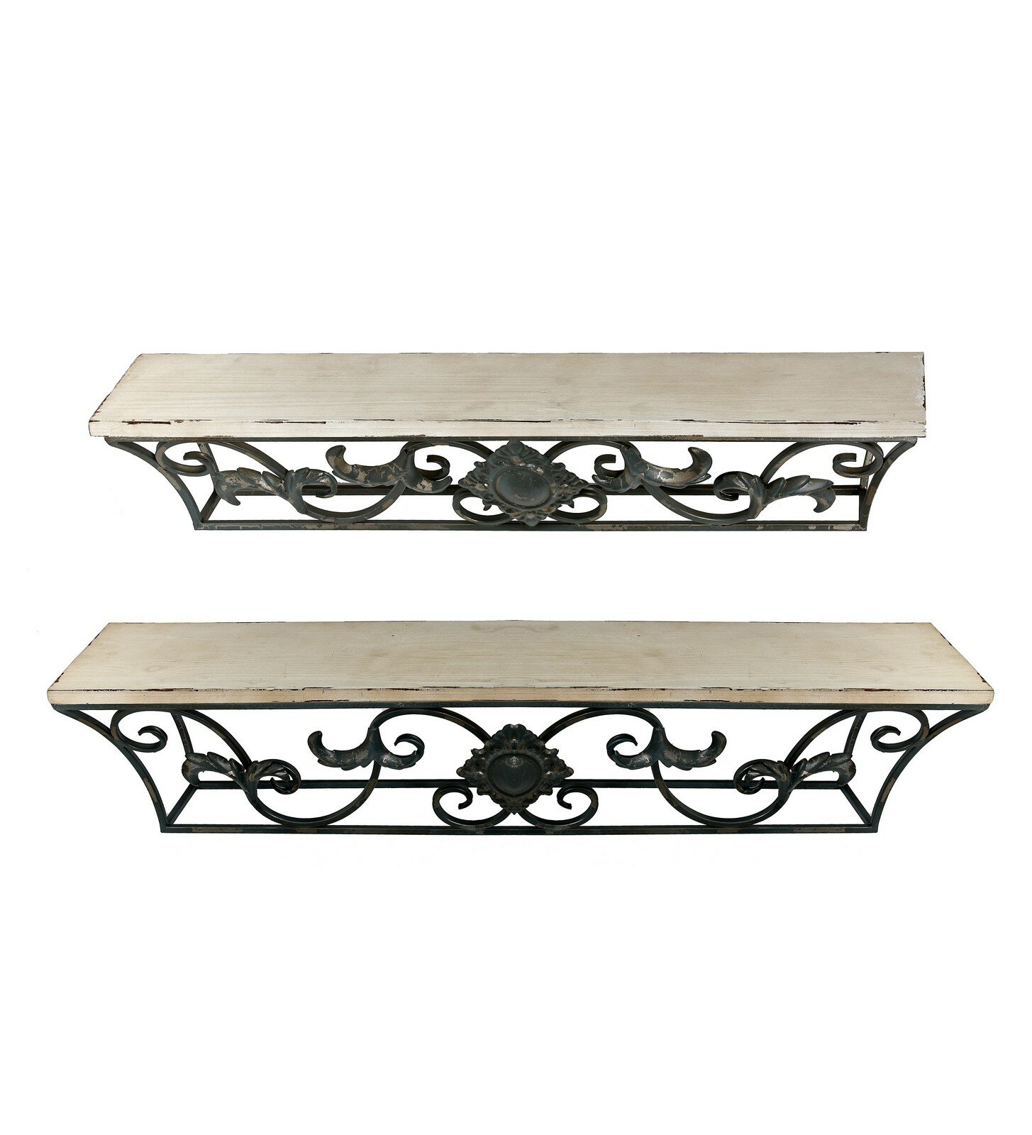 privilege iron and wood wall shelves reviews wayfair rh wayfair com wrought iron wall shelves wrought iron wall shelves