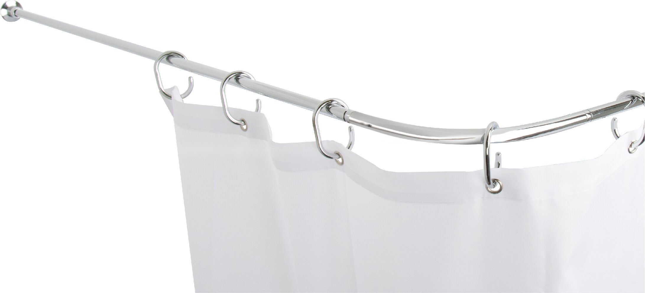 Belfry Bathroom Fineline 252cm Adjustable Curved Fixed Shower Curtain Rail And Hook Set