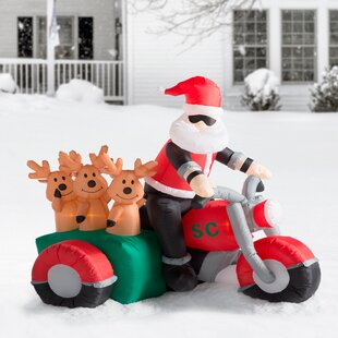 christmas inflatable santa claus driving motorcycle with 3 reindeer decoration - Inflatable Christmas Lawn Decorations