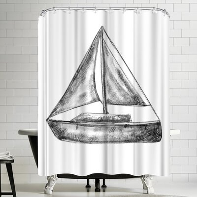 Jetty Printables Bw Sailboat 01 Shower Curtain