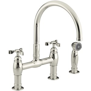 Parq Double Handle Deck Mount Kitchen Faucet With Spray