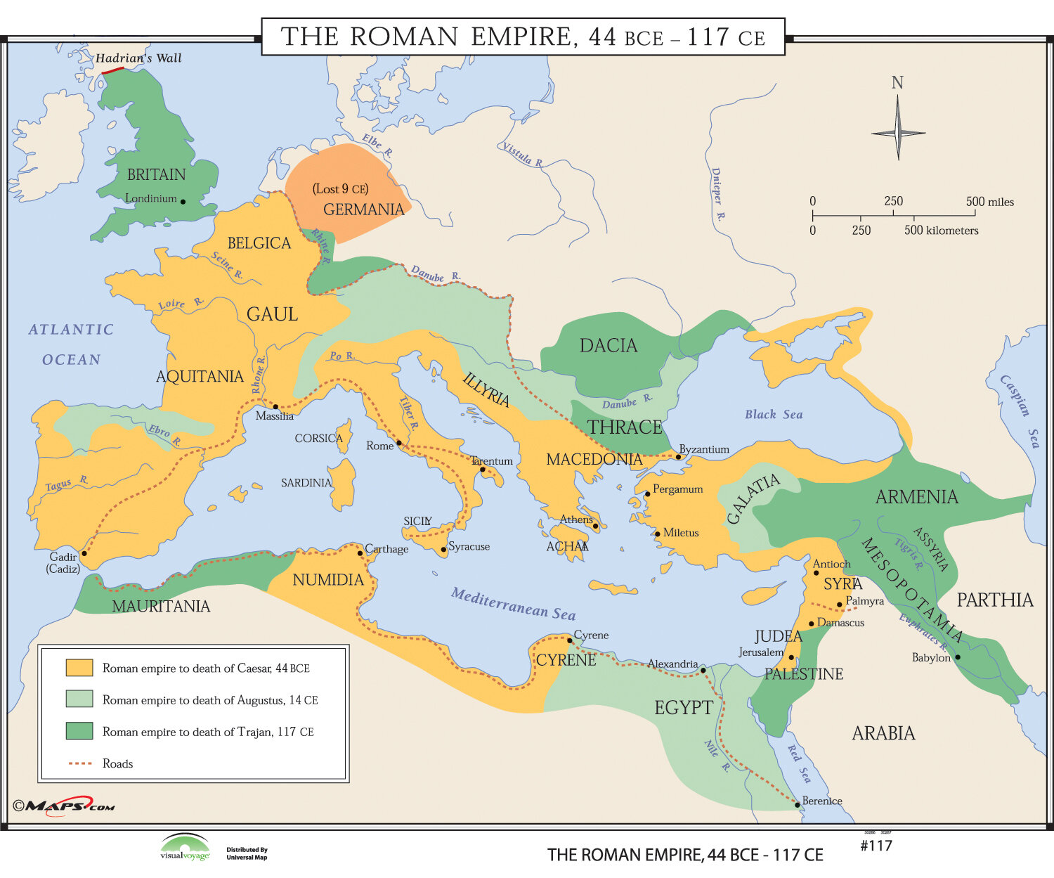 Universal map world history wall maps growth of roman empire wayfair gumiabroncs Image collections