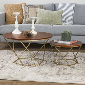 Dunavant Geometric Wood Coffee Table by Mercury Row