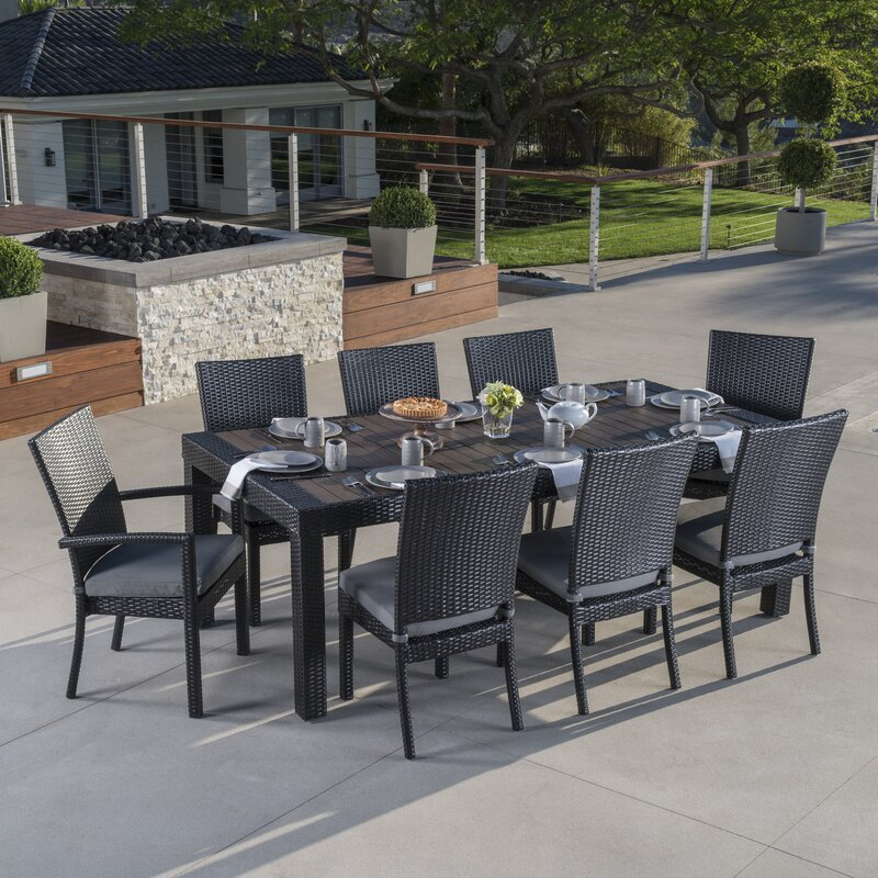Wonderful Evansville 9 Piece Outdoor Dining Set With Cushion
