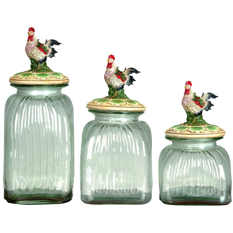 rooster lid glass 3 piece cookie jar set