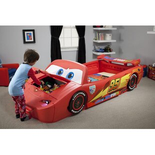 Disney Pixar Cars Toddler To Twin Bed With Lights And Toy Box