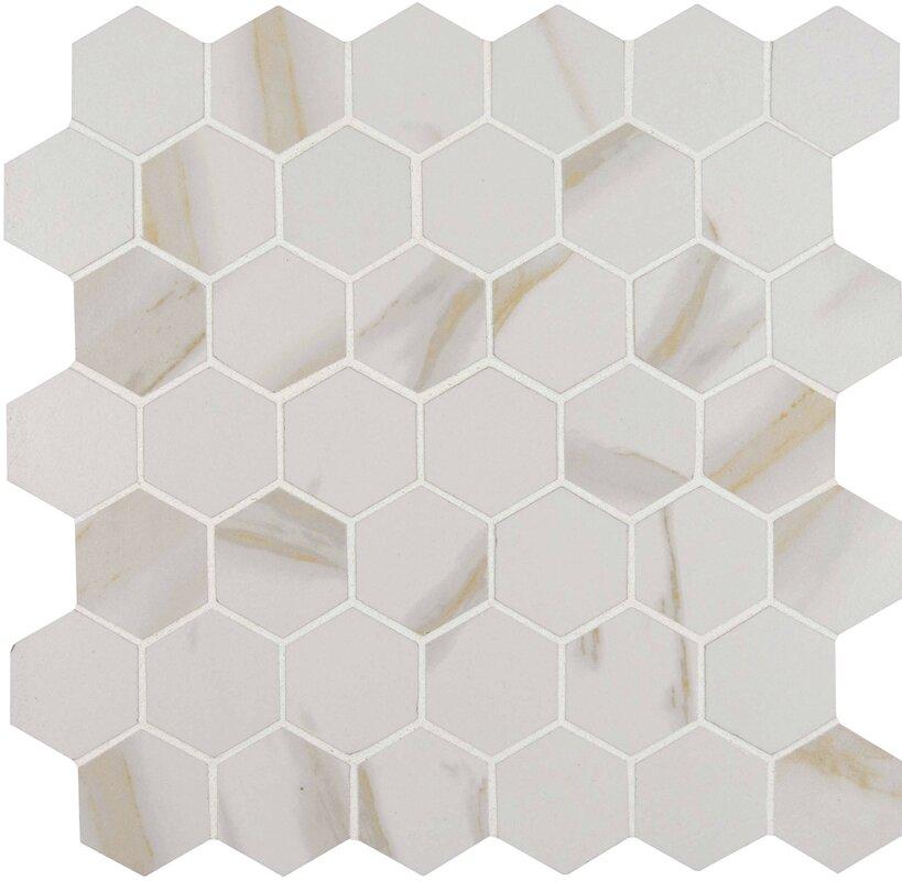 Calcatta 2 X Hexagon Porcelain Mosaic Tile In White