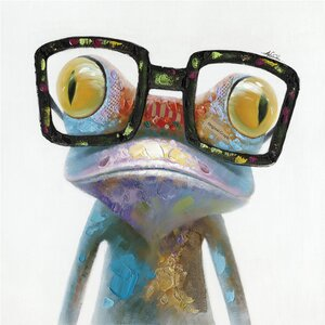 'Hipster Froggy II' Painting Print on Wrapped Canvas