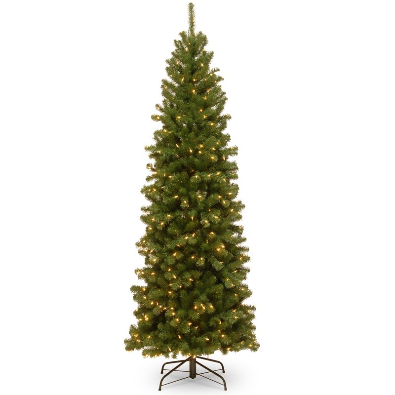 Spruce 7.5' Green Spruce Artificial Christmas Tree with 400 Clear ...