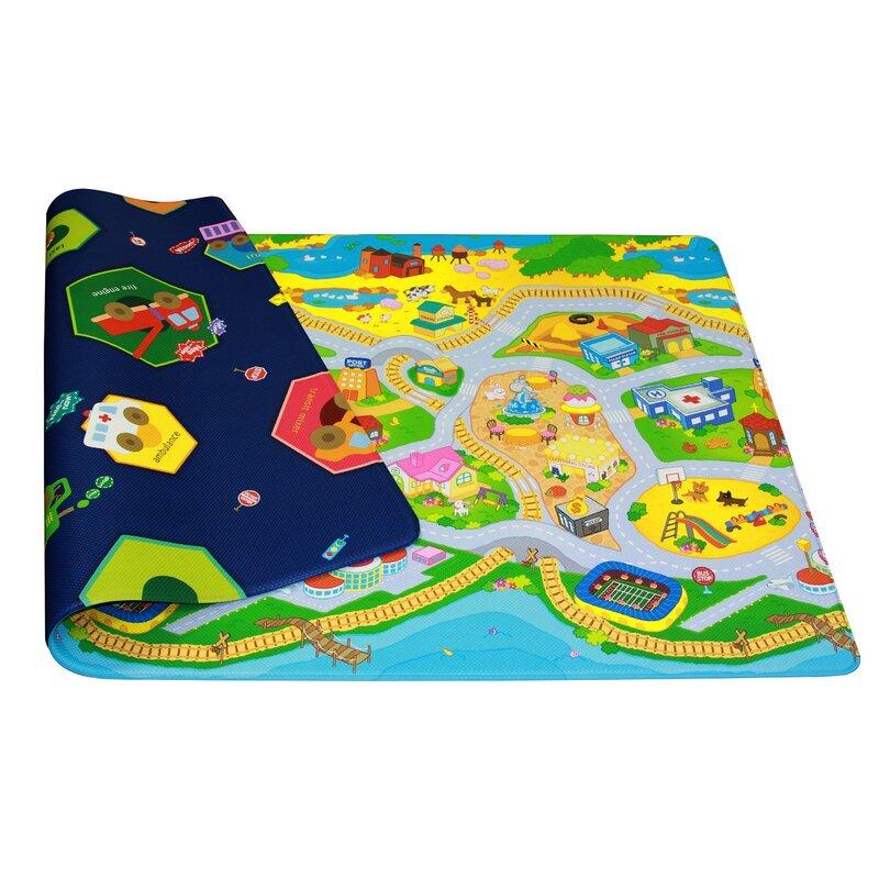 Dwinguler Kid S Playmat In My Town Yellow Blue Green Indoor Outdoor Area Rug Reviews Wayfair