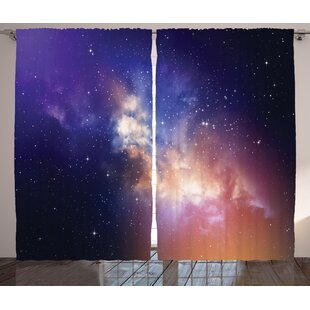 fbb0b91163f Space Stars in Sky Supernova Comet Constellation Light Years Meteor  Planetary ImageGraphic Print   Text Semi-Sheer Rod Pocket Curtain Panels  (Set of 2)