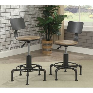 Maryellen Adjustable Height Swivel Bar Stool (Set of 2)