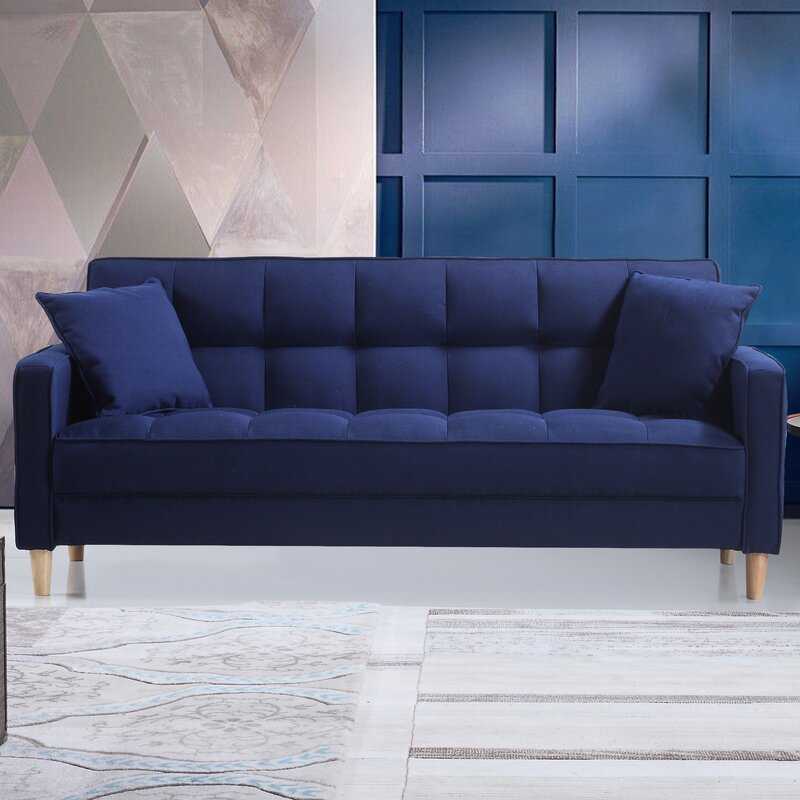 Modern Linen Fabric Tufted Small Space Sofa & Reviews