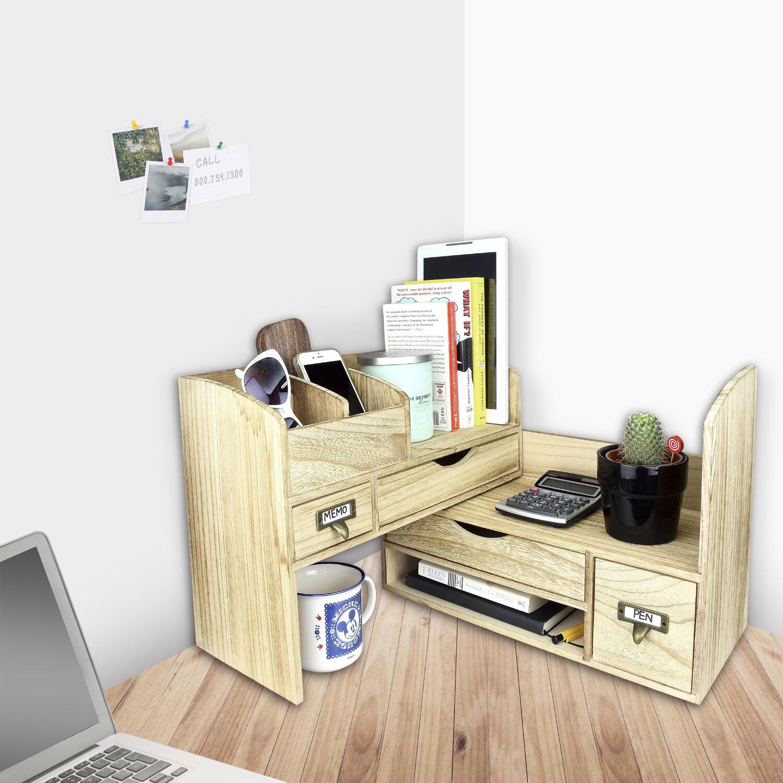 storage rack product natural organizer desk display desktop freestanding wood adjustable shelf