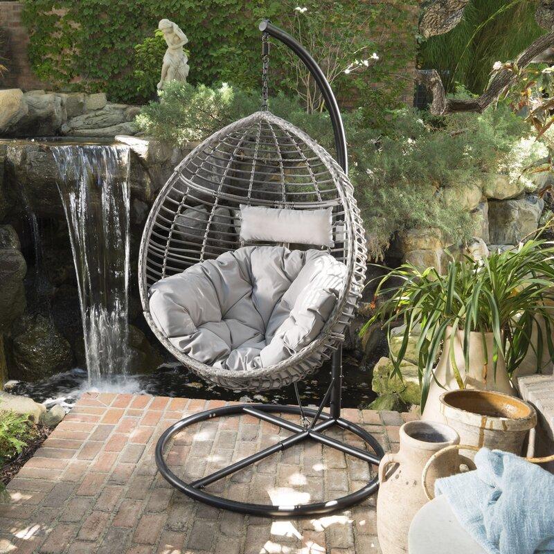 Brayden Studio Weller Outdoor Wicker Basket Swing Chair With Stand