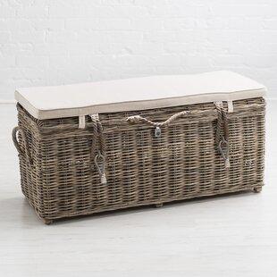Key Largo Wicker Storage Bench With Cushions