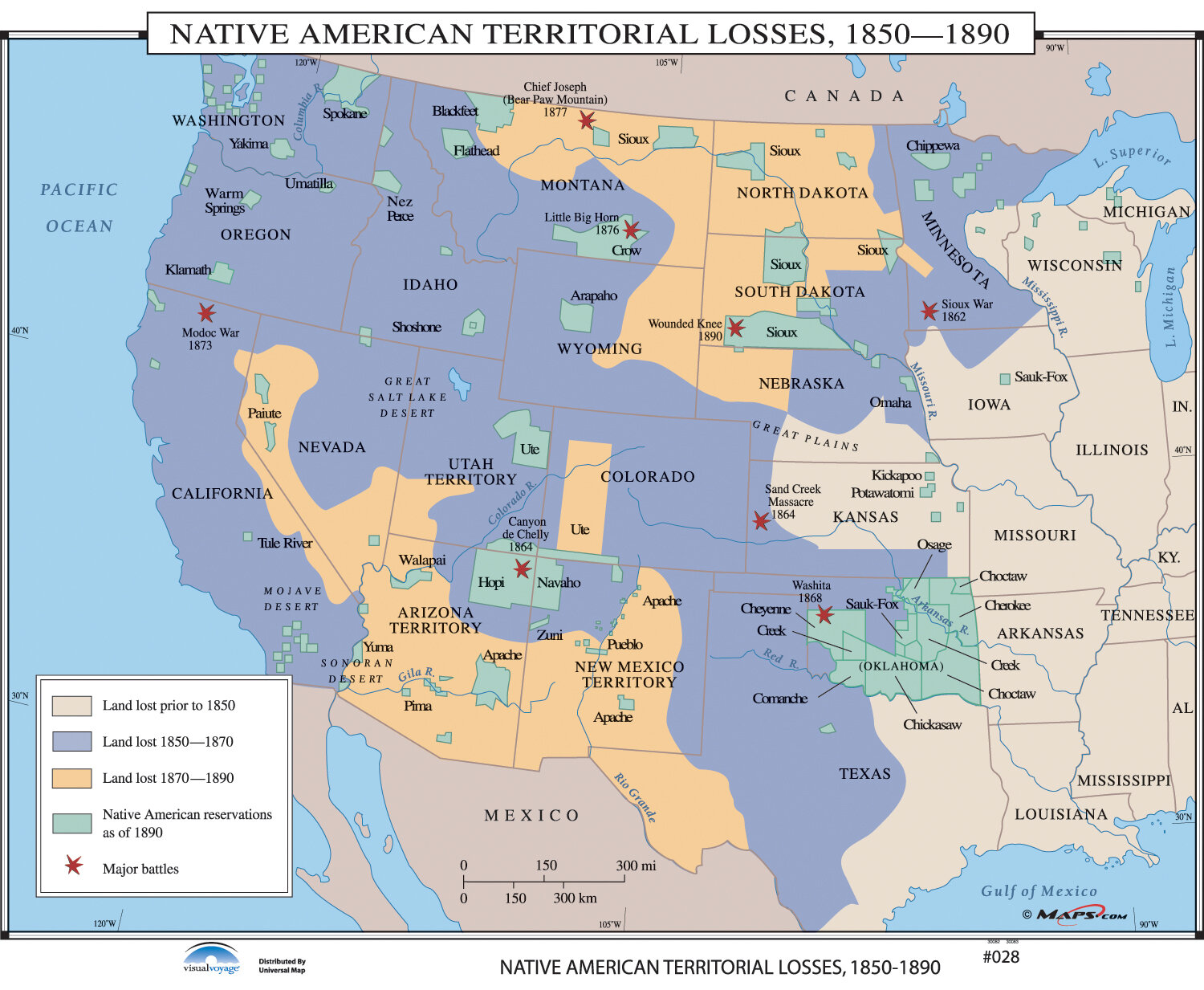 Universal Map U.S. History Wall Maps - Native American Territorial ...
