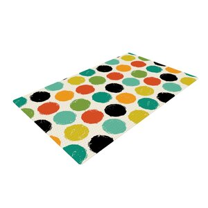 Daisy Beatrice Retro Dots Repeat Yellow/Blue Area Rug