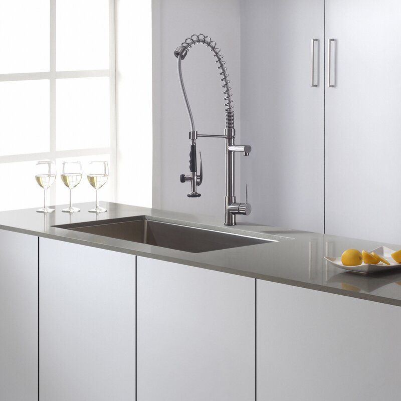 Kraus Pull Out Kitchen Mixer Single Handle Kitchen Faucet & Reviews ...