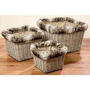 3-tlg. Körbe-Set aus Weide/Textil von Prestington