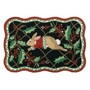 Happy Holiday Rabbit Hook Area Rug