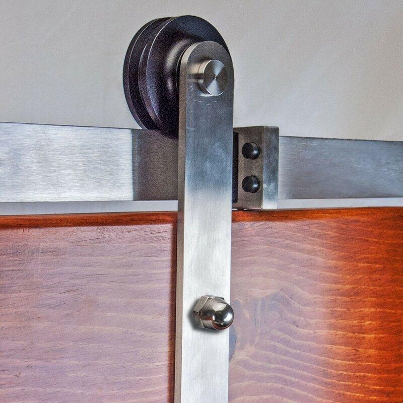 Stainless Steel Stick Strap Rolling Barn Door Hardware Kit