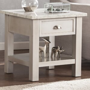 Burket Faux Marble Square End Table by Three Posts