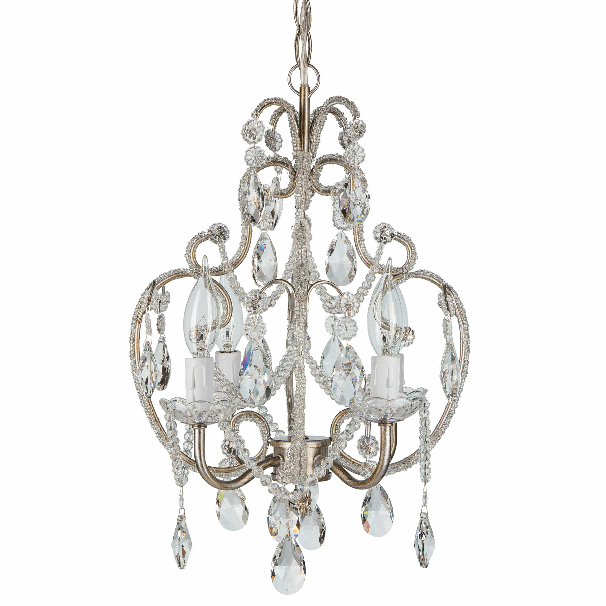 House of Hampton Alida 4-Light Crystal Chandelier with Hooks ...