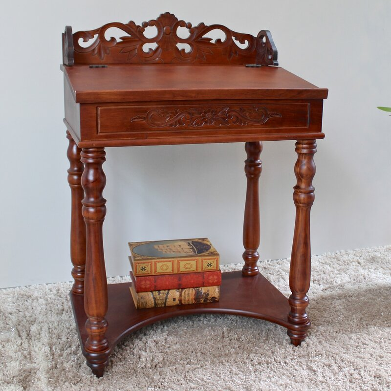 International Caravan Windsor Hand Carved Small Wood Writing Desk