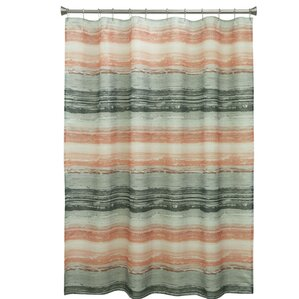 teal striped shower curtain. Portico Polyester Shower Curtain Orange Curtains You ll Love  Wayfair
