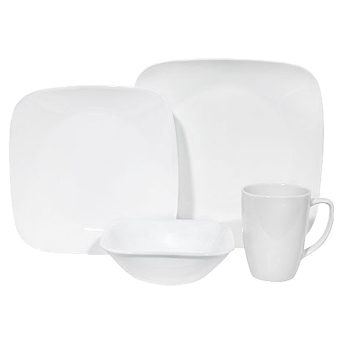 Square 16 Piece Dinnerware Set Service for 4  sc 1 st  Wayfair & Corelle Square 16 Piece Dinnerware Set Service for 4 \u0026 Reviews ...