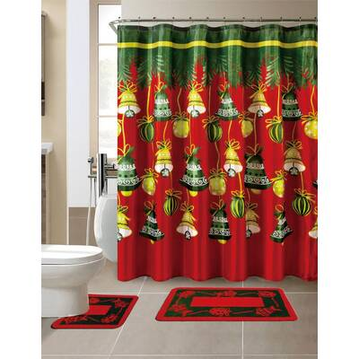 15 Piece Christmas Shower Curtain Set With 12 Hooks