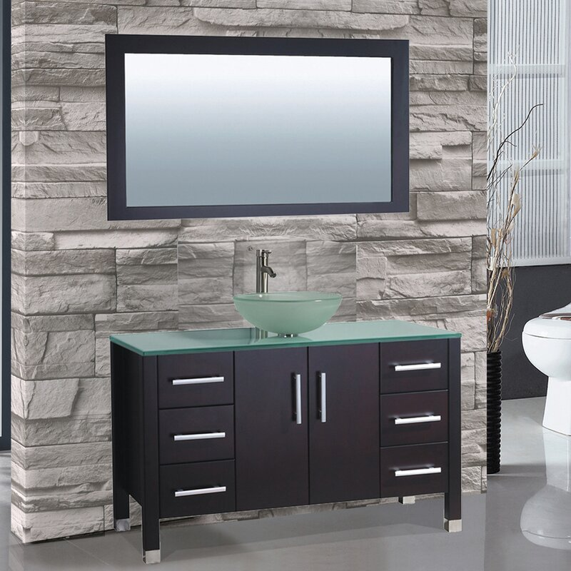 Prado 48 Single Sink Bathroom Vanity Set With Mirror